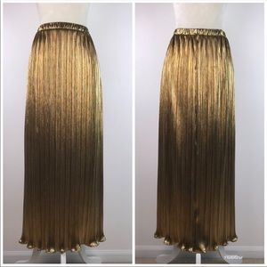 Vintage Accordion Metallic Gold Maxi Skirt